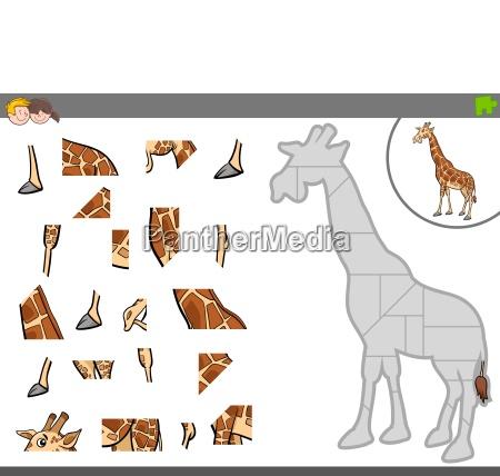 gioco di puzzle con animale giraffa