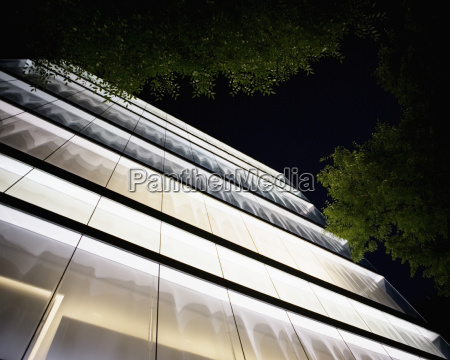 looking up at an illuminated office