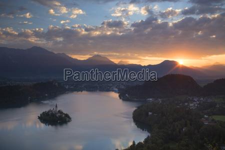 sunrise over lake bled in julian