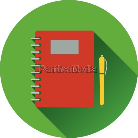 flat design icon of exercise book