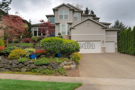 single family home front yard garden
