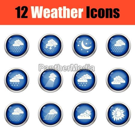 set of weather icons flat design