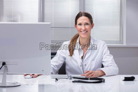 portrait of a happy female doctor