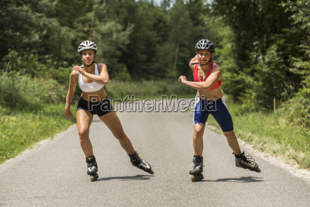 young women doing inline skating 19