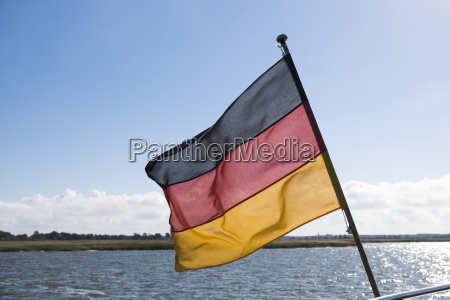 germany flag on ship bodstedter lagoon