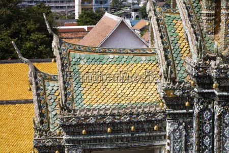 tile roofs at wat arun temple