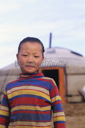 mongolia young local girl standing in