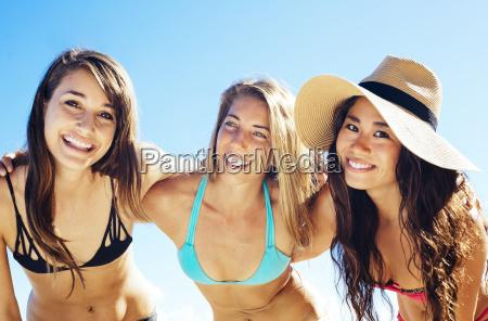 group of attractive girls having fun