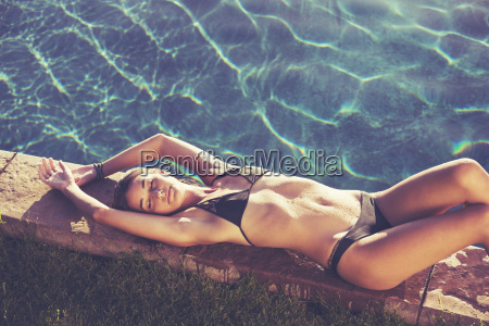 fashion lifestyle beautiful woman in swimwear
