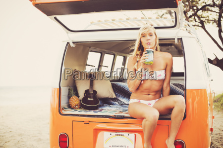 beach lifestyle beautiful surfer girl on