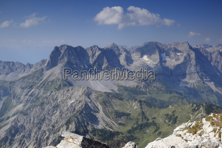 some mountain peaks in natural landscape