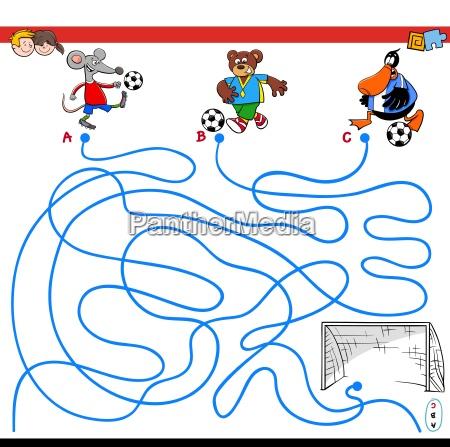 percorsi gioco labirinto con animali che