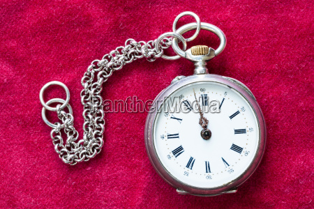 vintage pocket watch with chain on