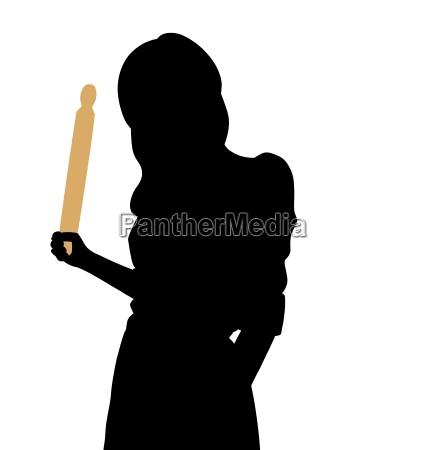 donna arrabbiata con un mattarello