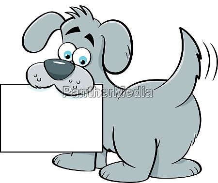 cartoon illustration of a dog holding
