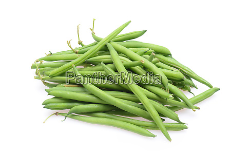 fresh green string beans isolted on