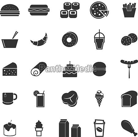 icone di cibo popolare su sfondo