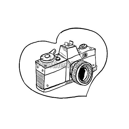 vintage 35mm slr camera heart drawing