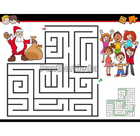 attivita labirinto cartone animato con babbo