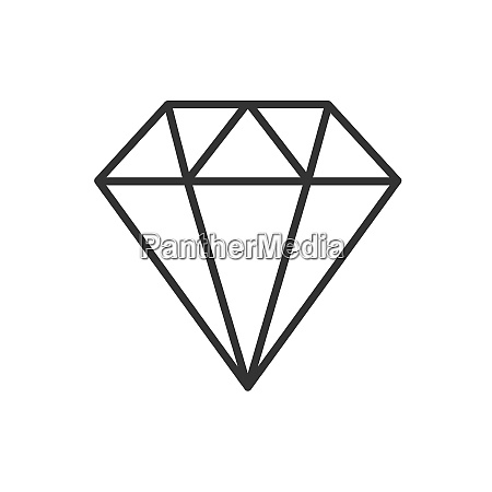 diamond line icon on a white
