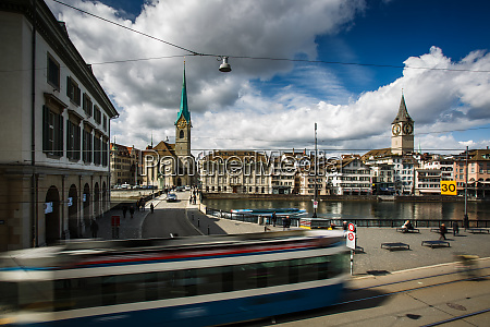 zurich cityscape with motion blurred city