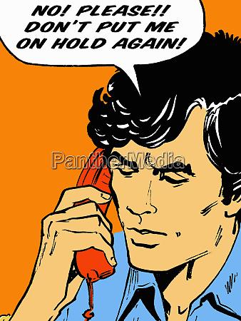 uomo frustrato sul telefono che comunica
