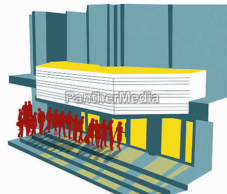 persone in coda fuori dal cinema
