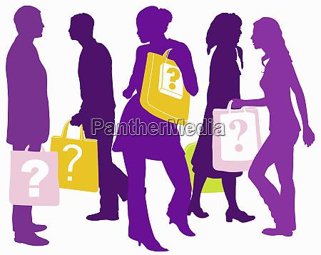 men and women carrying shopping bags