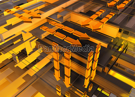 abstract orange and yellow geometric grid