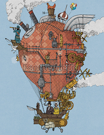 esploratori di vecchio stile in mongolfiera