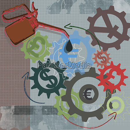 oil can oiling foreign currency symbols