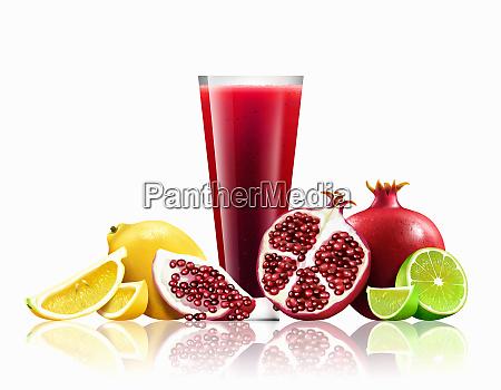 bicchiere di melograno limone e lime