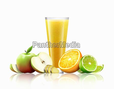 bicchiere di frullato di arancia mela
