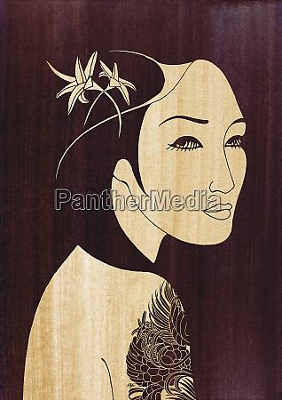 beautiful asian woman with tattoo