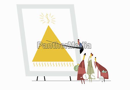 uomo che mostra schema piramidale agli