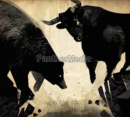 toro e orso sul bordo della