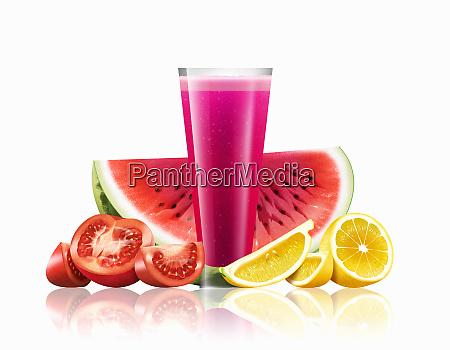 bicchiere di cocomero pomodoro e limone