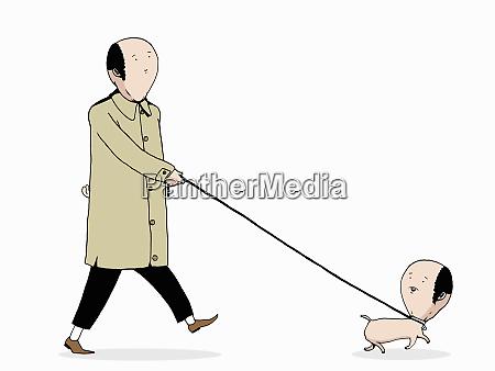 man walking anthropomorphic doppelganger dog