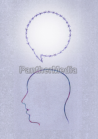 bolla vocale filo spinato sopra la