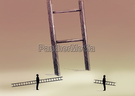 two men with small ladders looking