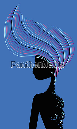 glamorous woman tossing multicolored hair