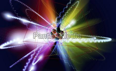 atomic nucleus and orbiting electrons