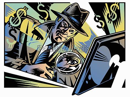 detective retro che indaga sulla criminalita