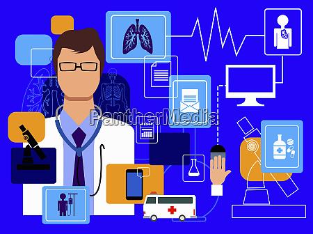 medico e tecnologia informatica nel montaggio