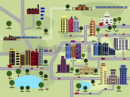 struttura di strade ed edifici in