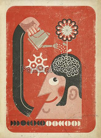 man watering flower growing from brain