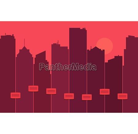 silhuet af byens skyline