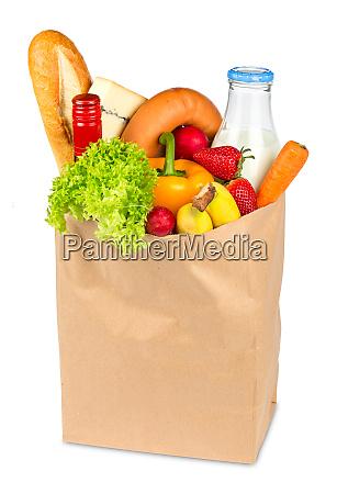borsa della spesa piena di cibo