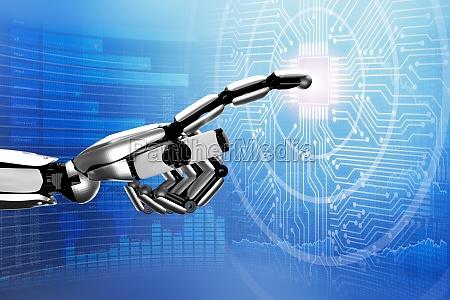 robot che tocca il circuito digitale
