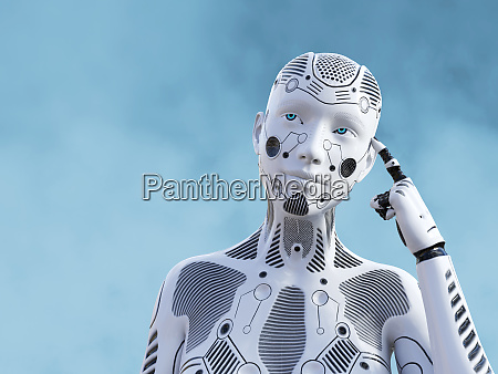rendering 3d di robot femmina pensando